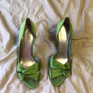 Green satin heels